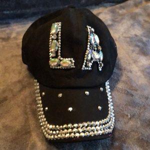 Accessories - LA black rhinestones baseball hat.